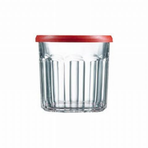 Luminarc Red Top Glass Tumbler Jam Jar Plastic Lid